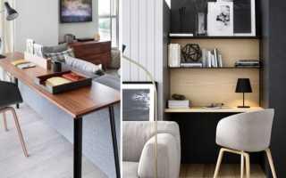 Домашний мини-офис в гостиной комнате
