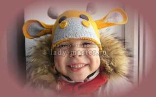 Схема вязания крючком красивой декоративной шапочки для маленького ребенка в виде жирафа