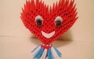 Объемное сердце: модульное оригами со схемой сборки и пошаговой инструкцией