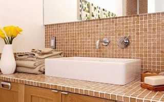 Изготовление столешницы под раковину в ванной из керамической плитки