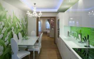 Использование в интерьере кухни зеленых обоев