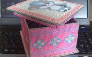 Вышивка лентами на пластиковой канве