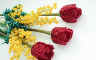 Тюльпаны из бисера: мастер класс по плетению весеннего букета цветов