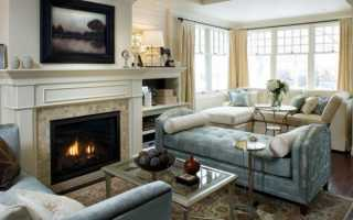 Особенности интерьера зала с камином