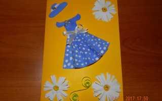 Платье из салфетки для открытки: аппликация в технике скрапбукинг